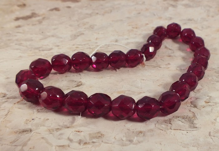 25x Czech Fire Polish Beads 8mm - Ruby red