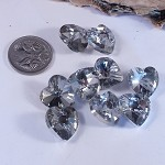 Faceted Crystal Heart Beads - Foilbacked (5)