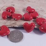Red Porcelain Heart - (10)