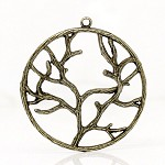 2 Charm Pendants Tree Circle Antique Bronze