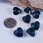 Faceted Blue Heart Beads - Foilbacked (5)