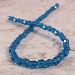 50x Czech Fire Polish Beads 4mm - Capri Blue