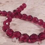 25x Czech Fire Polish Beads 8mm - Fuschia Pink