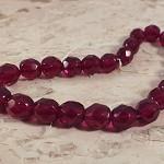 25x Czech Fire Polish Beads 8mm - Ruby red