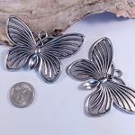2 Large Tibetan Silver Butterfly Pendants