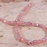 50x Czech Fire Polish Beads 4mm - Milky Pink AB