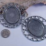 2 Large Silver Settings suit cameo 30x40mm - brooch or pendant use