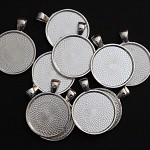 10  Silver Plate Pendant Trays Settings 25mm.