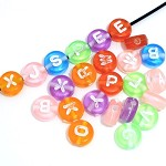 100 Mixed Transparent Acrylic Letter Beads 7mm