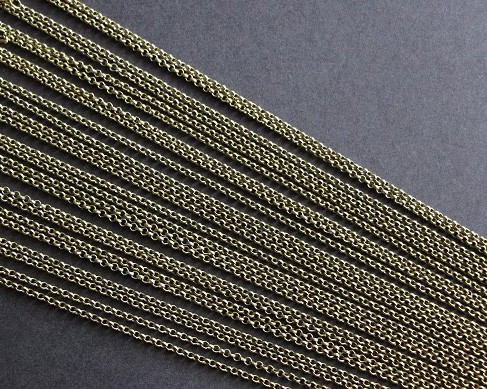 "50 Antique Bronze Belcher Link 30"" Chain Necklaces- Lobster Clasp"