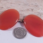 2 Red Orange Cats Eye Cabochons 30x40mm - brooch or pendant use
