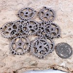 Antiqued Steampunk Gear Connector in Silver x10