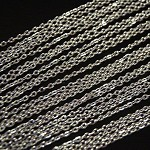"""50 Silver Plate Flat Rolo 30"""" Chain Necklaces- Lobster Clasp"""