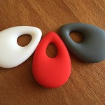 3 Silicone Teething Pendents beads - baby - 100% non toxic, red, grey, white