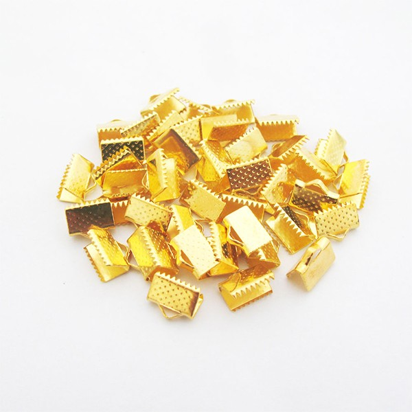 50 Textured End Cap Crimp Beads 6x5mm
