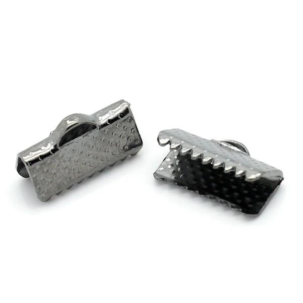 100 Textured End Cap Crimp Beads 13x8mm
