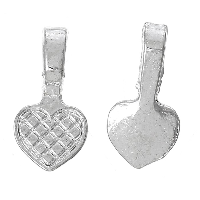20 x   Heart Bails Silver Plated 16.8mm x 8.0mm