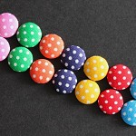 14 Flat back Polka Dot Fabric Covered Buttons- 6 Colours