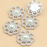5 x Ivory Faux Pearl and Silver flatback Emebellishments
