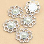 5 x Ivory Faux Pearl and Silver flatback Emebellishments