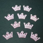 GLITTER RESIN CROWN EMBELLISHMENTS - 10 PACK