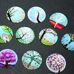 MIXED 20MM TREE GLASS CABOCHONS - 10 PACK