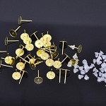 100 Gold Plated Earring Posts - 8mm pad