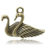 15 Antique Bronze Swan Pendants