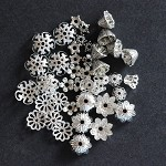42 Antique Silver & Silver Flower Bead End Caps Assorted Styles & Sizes