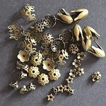 42 Antique Bronze Flower Bead End Caps Assorted Styles & Sizes