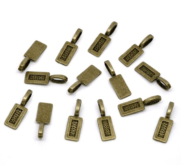 25 Bronze Tone Tag Glue on Bails