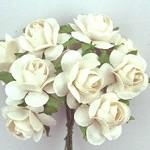 10 pack 3cm White Paper Roses Flower Petals Embellishment
