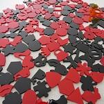 160+ Red & Black Acrylic shape embellishment charms