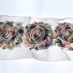 12 Mocha Latte Dot shabby chiffon flowers - trim for hair clips & millinery
