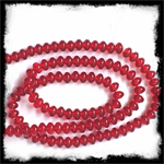 5mm Czech Puffed Glass Beads Strand Ruby Red