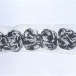 12 Zebra shabby chiffon bows - for millinery, hairclips and scrapbooking.