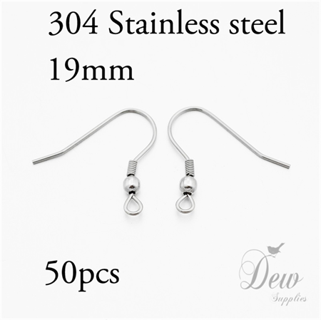 50 pieces 316 stainless steel earring hooks 19mm 25 pairs