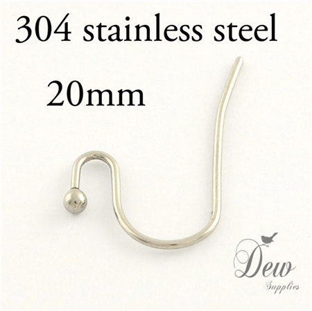 50 pieces 304 stainless steel earring hooks