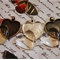10 heart pendant trays bronze with matching glass dome inserts