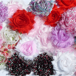 LUCKY DIP - 10 Valentine mixed random shabby chiffon flowers - for hairclips