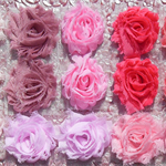 15 Just Pink small shabby chiffon flowers - for millinery, craft & hairclips