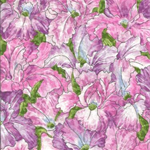 Patchwork - Quilting Fabric - Fat 1/4 - Iris Flowers -  Pinks and Mauve