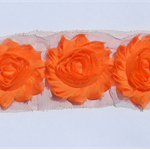 10 Orange shabby chiffon flowers - trim for millinery and hair clips