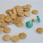 20 x wooden 12mm domed round tiles shapes