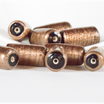 10 Gold Foil Barrel Beads - 20x10 millimetres