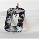 Rectangular Black and White Gemstone Agate Pendant – 40x30 millimetres