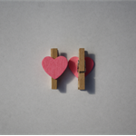 Mini Wooden Pegs - Pink Love Heart - 30mm, Pack of 50