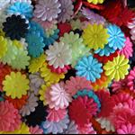LAST SET 60 Assorted Satin Flower Embellishments