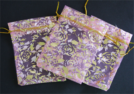 10 Pink and Gold Print Gift Bags, With Draw String.