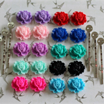 Kit to Create 10 Pairs of Resin Flower Cabochon Bobby Hair Pins DIY Project